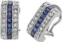 18k White Gold 3.55ct Diamond & Sapphire Earrings