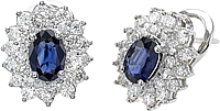 18k White Gold 3.64ct Diamond & Sapphire Earrings
