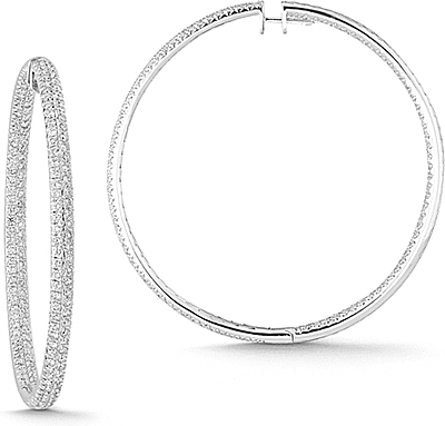 18k White Gold 6 11ct Pave Diamond Hoop Earrings 0 Reviews Write A Review View Photos