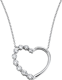 18k White Gold .75ct Diamond Heart Necklace