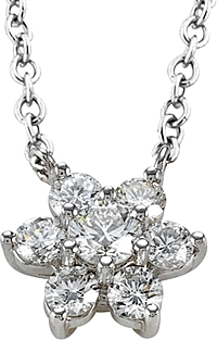 18k White Gold .87ct Diamond Flower Necklace