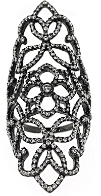 18k White Gold & Black Rhodium Diamond Floral Ring