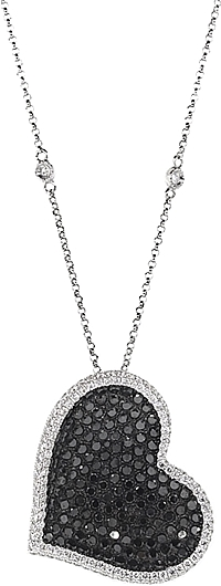 18k White Gold Black & White Diamond Heart Necklace