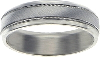 18K White Gold Brushed and Polished 6mm Comfort-Fit Band