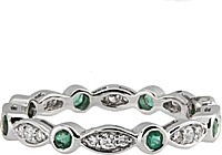 18k White Gold Diamond & Emerald Band