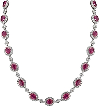 18k White Gold Diamond & Ruby Necklace- 25.18ct TW