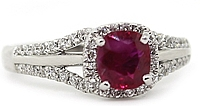 18k White Gold Diamond & Ruby Ring