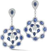 18k White Gold Diamond & Sapphire Earrings- 36.23TCW