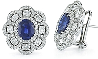 18k White Gold Diamond & Sapphire Earrings-5.28tcw