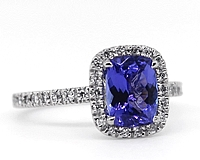 18k White Gold Diamond & Tanzanite Ring