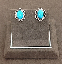 18k White Gold Diamond & Turquoise Earrings