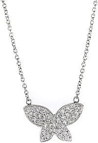 18k White Gold Diamond Butterfly Necklace