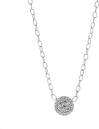 18k White Gold Diamond Cluster Necklace- .93ctw