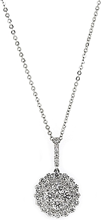 18k White Gold Diamond Cluster Necklace- .95ctw