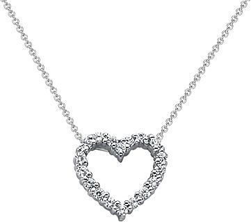 18k white gold diamond heart pendant 14ct tw unhpd268 aloadofball Choice Image