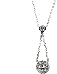 18k White Gold Diamond Pendant- 1.73cts