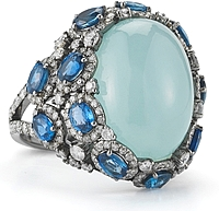 18k White Gold Diamond, Sapphire & Aquamarine Ring