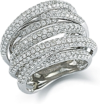 18k White Gold Multi-Row Pave Diamond Ring