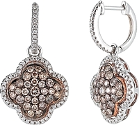 18k White Gold Natural Chocolate & White Diamond Earrings- 1.48ct TW