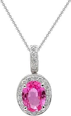 309cb68f63cda 18k White Gold Pink Sapphire   Diamond Pendant UNPD1058P