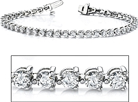 18k White Gold Three Prong Diamond Tennis Bracelet - 5ct tw