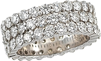 18k White Gold Triple Row Diamond Eternity Ring