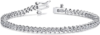 18k White Gold Two Prong Diamond Tennis Bracelet - 3ct tw