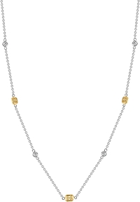 18k White Gold White & Yellow Diamond Necklace- 1.29ct TW