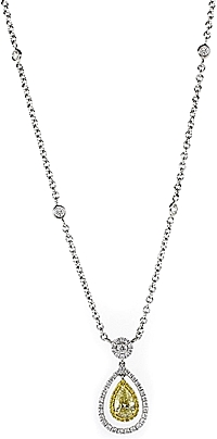 18k White Gold Yellow Diamond Drop Necklace- 1.91ctw