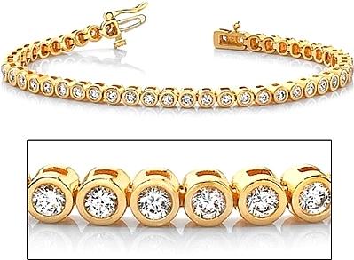 18k Yellow Gold Bezel Set Diamond Tennis Bracelet 2 60ct Tw