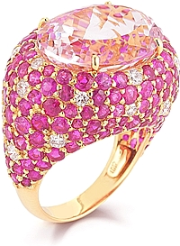18k Yellow Gold Diamond, Ruby & Kunzite Ring
