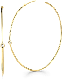 18k Yellow Gold Thin Diamond Hoops