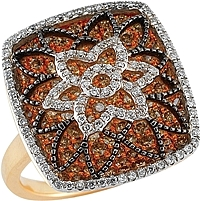 18k Yellow/White Gold Natural Chocolate & White Diamond Ring- 2.08ct TW