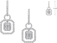 2.16ct Emerald Cut & Round Hanging Diamond Earrings
