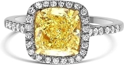 2 4ct Cushion Cut Gia Fancy Yellow Diamond Engagement Ring Ydcr5328