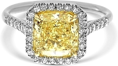 2 64ct Cushion Cut Gia Fancy Yellow Diamond Engagement Ring Ydcr5327