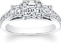 3-Stone Asscher Cut Diamond Engagement Ring