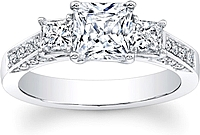 3-Stone Princess Cut Diamond Engagement ring