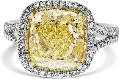 4 52ct Cushion Cut Gia Fancy Yellow Diamond Engagement Ring Ydcr5381