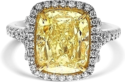 5 03ct Cushion Cut Gia Fancy Light Yellow Diamond Engagement Ring