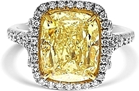 5.03ct Cushion Cut GIA Fancy Light Yellow Diamond Engagement Ring