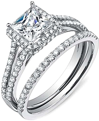 .66ctw Princess Cut Split Shank Sylvie Diamond Engagement Ring