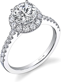 .80ctw Round Brilliant Cut Sylvie Pave Diamond Engagement Ring