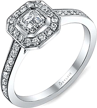 .84ctw Asscher Cut Sylvie Pave Diamond Engagement Ring