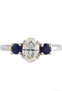.90ct GIA I/VS2 Oval & Sapphire Diamond Engagement Ring