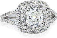 .94ct GIA H/VS1 Cushion Double Halo Diamond Engagement Ring