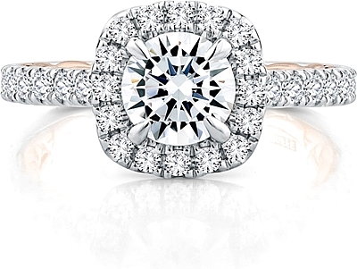 This image shows the setting with a .50ct round brilliant cut center diamond. The setting can be ordered to accommodate any shape/size diamond listed in the setting details section below.
