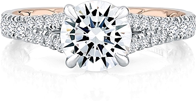 This image shows the setting with a .75ct round cut center diamond. The setting can be ordered to accommodate any shape/size diamond listed in the setting details section below.
