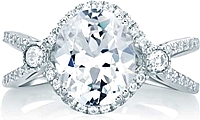 A.Jaffe Split Shank Halo Diamond Engagement Ring