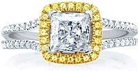 A.Jaffe Split Shank Yellow Diamond Engagement Ring